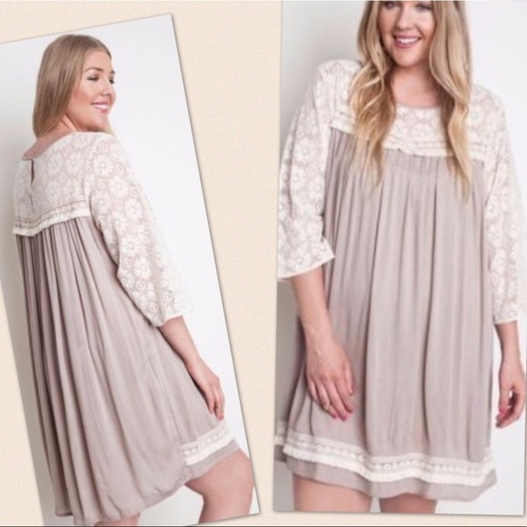 Umgee Plus Size Beige and Cream Lace Shift Dress
